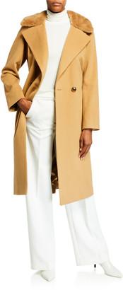 Sofia Cashmere Mink Collar 2-Button Wool-Blend Coat