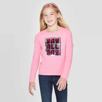 Cat & Jack Girls' Long Sleeve Flip Sequin Yay All Day T-Shirt - Cat & JackTM Bright Pink