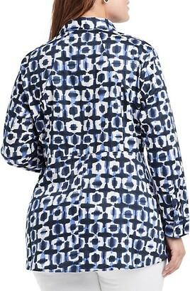 NIC+ZOE, Plus Size Stretch Shibori Blouse