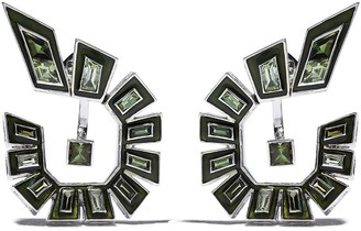 Stephen Webster 18kt white gold Dynamite enamel and diamond hoop earrings
