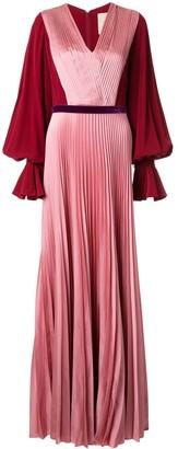 Roksanda Contrast Sleeve Silk Pleated Gown