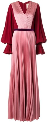 Roksanda contrast sleeve silk pleated gown