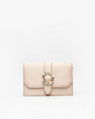 Le Château Brooch Embellished Satin Flapover Clutch
