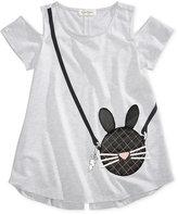 Jessica Simpson Bunny Purse-Pocket Cold-Shoulder T-Shirt, Big Girls (7-16)