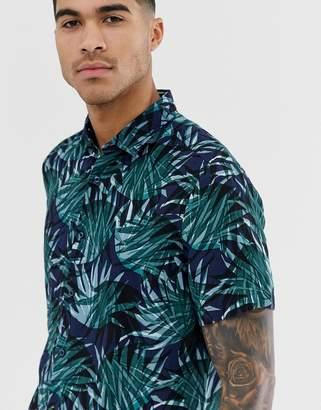 BOSS Rash printed short sleeve shirt in dark green