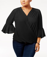 INC International Concepts Plus Size Bell-Sleeve Surplice Top, Created for Macy's