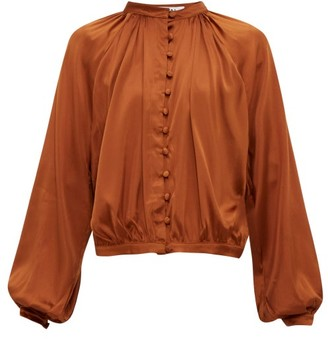 ÀCHEVAL PAMPA Gloria Silk-blend Satin Blouse - Womens - Brown