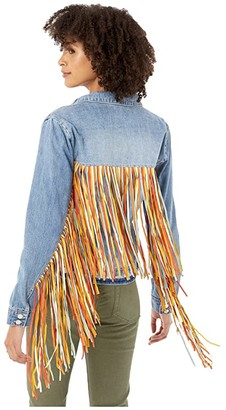 Scully Denim and Fringe Jacket (Denim Blue) Women's Jacket