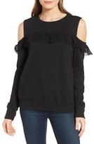 Halogen Ruffle Cold Shoulder Sweatshirt (Regular & Petite)