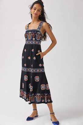 Anthropologie Embroidered Midi Dress By in Assorted Size 18W