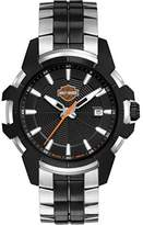 Harley-Davidson Men's Quartz Watch with Black Dial Analogue Display and Two Tone Leather Bracelet 78B124