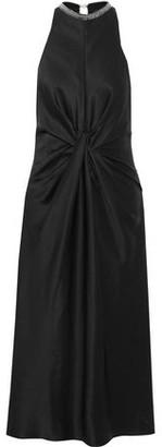 Alexander Wang Twist-front Embellished Silk-satin Midi Dress
