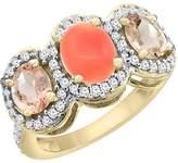 PIERA 10K Yellow Gold Natural Coral & Morganite 3-Stone Ring Oval Diamond Accent, size 6