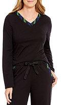 Sleep Sense Flannel-Trimmed Jersey Knit Sleep Top
