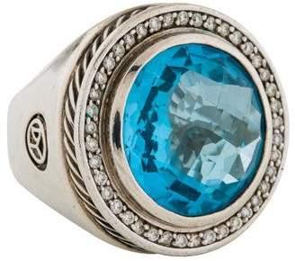 David Yurman Blue Topaz & Diamond Cerise Ring