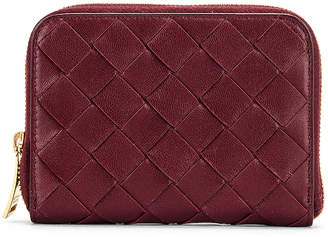Bottega Veneta Leather Woven ZIp Around Wallet in Bordeaux & Gold | FWRD