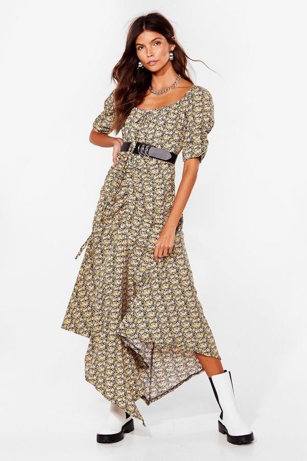 Nasty Gal Womens Floral Waterfall Puff Sleeve Maxi Dress - Black - 6