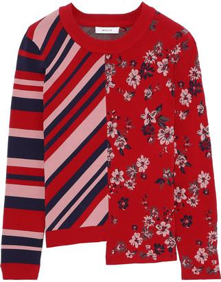 Milly Asymmetric Paneled Jacquard-knit Sweater
