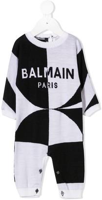 Balmain Kids Intarsia Knit Logo Babygrow