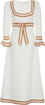 Zimmermann Grosgrain-Trimmed Linen Midi Dress