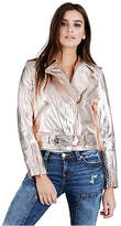 True Religion Rose Gold Metallic Womens Moto Jacket