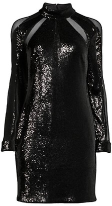 Aidan Mattox Sequin & Mesh Sheath Dress