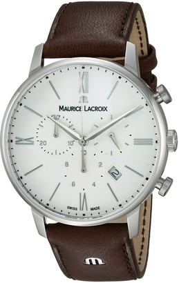 Maurice Lacroix Men's Eliros Stainless Steel Swiss Quartz Watch with Leather Strap
