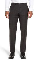 HUGO BOSS Genesis Flat Front Plaid Wool Trousers