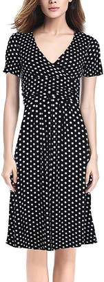 Deli.S Women's Casual Dresses Black - Black & White Polka Dot Banded-Waist Surplice Dress - Women