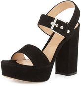 Gianvito Rossi Suede Two-Band Platform Sandal, Black