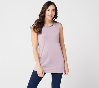 Logo by Lori Goldstein LOGO Layers by Lori Goldstein Knit Tank with Printed Chiffon Neck