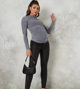 Missguided Maternity coated vice jeans in black