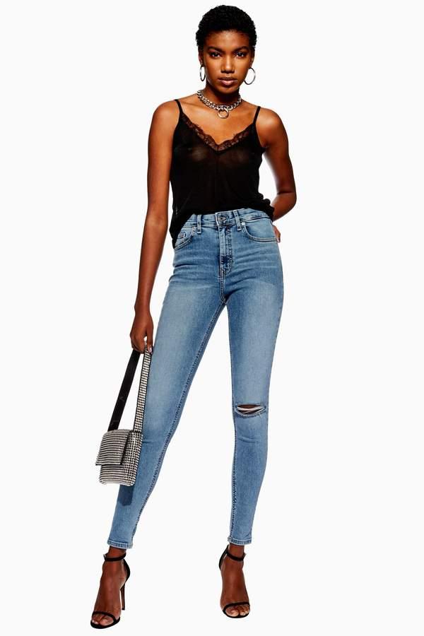 Topshop Womens Bleach Ripped Jamie Jeans - Bleach Denim