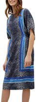 Jaeger Silk Scarf Print Midi Dress, Navy/Multi