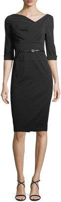 Black Halo Jackie 3/4-Sleeve Sheath Dress