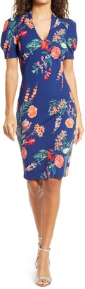 Vince Camuto Floral Scuba Crepe Bodycon Dress