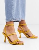 Asos Design DESIGN Hailee mid-heeled sandals in mustard