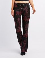 Charlotte Russe Floral Lace-Up Flare Pants