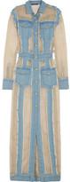 Balmain Frayed Denim And Organza Maxi Dress - Light denim