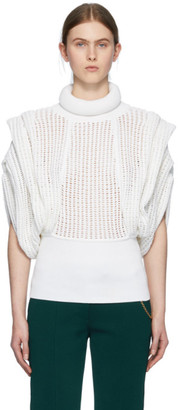 Givenchy White Perforated Sleeveless Turtleneck