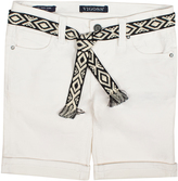 Vigoss White Belted Bermuda Shorts - Girls