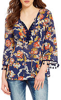 Miss Me Floral Printed Pom Pom Trim Tie-Front Peasant Blouse