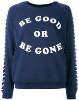 Zoe Karssen lace-up sleeves sweatshirt - women - Cotton/Polyester - S