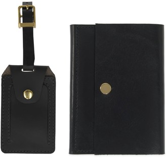 Luxe Black Leather Luggage Tag & Passport Holder Set