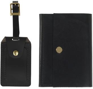 Vida Vida Luxe Black Leather Luggage Tag & Passport Holder Set