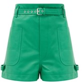 Isabel Marant Xike Belted Leather Shorts - Womens - Green