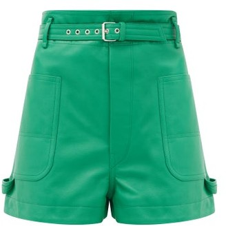 Isabel Marant Xike Belted Leather Shorts - Green