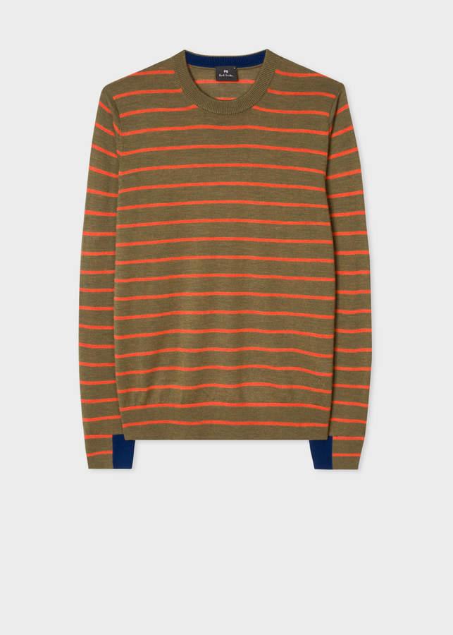Paul Smith Men's Khaki Thin Stripe Merino Wool Sweater