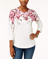 Karen Scott Printed 3/4-Sleeve Top, Created for Macy's