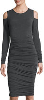 Bailey 44 Ruched Jersey Cold-Shoulder Dress, Charcoal